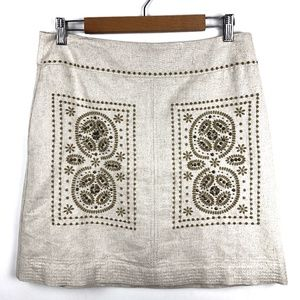 Anthropologie Floreat Skirt 6 Embroidered Beaded